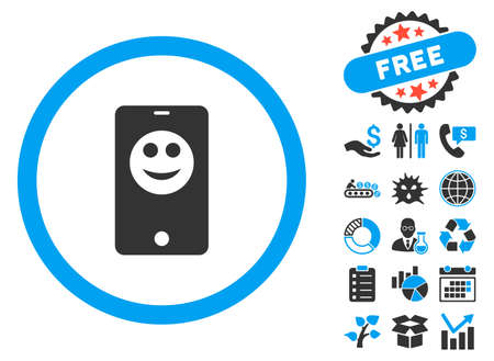 Mobile Phone Smiley icon with bonus symbols. Vector illustration style is flat iconic bicolor symbols, blue and gray colors, white background.