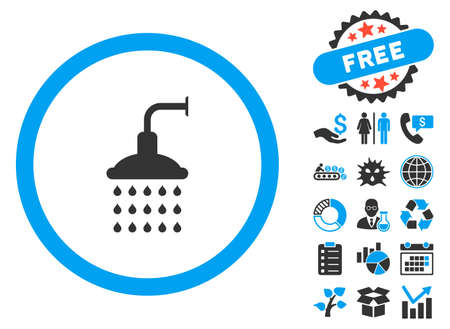 Shower icon with bonus icon set. Vector illustration style is flat iconic bicolor symbols, blue and gray colors, white background. Illustration
