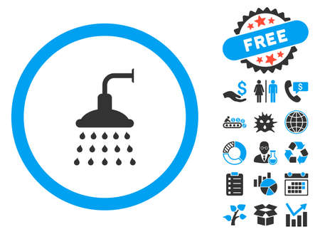 desinfectante: Shower pictograph with bonus images. Vector illustration style is flat iconic bicolor symbols, blue and gray colors, white background.