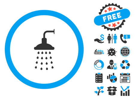 antiseptic: Shower pictograph with bonus design elements. Vector illustration style is flat iconic bicolor symbols, blue and gray colors, white background.