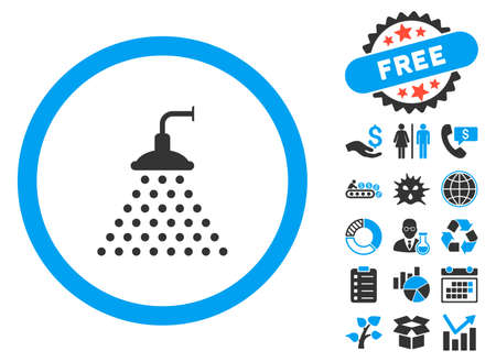 Shower pictograph with bonus images. Vector illustration style is flat iconic bicolor symbols, blue and gray colors, white background.