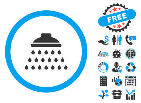 Shower icon with bonus pictogram. Vector illustration style is flat iconic bicolor symbols, blue and gray colors, white background.