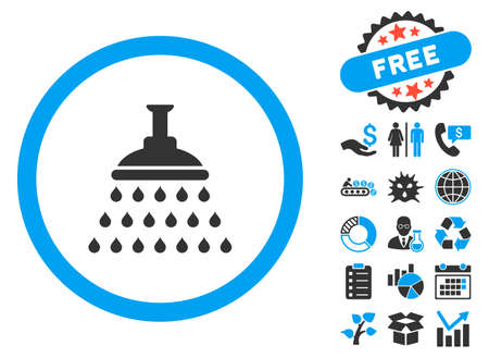 sanitize: Shower pictograph with bonus images. Vector illustration style is flat iconic bicolor symbols, blue and gray colors, white background.