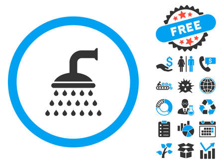 sanitize: Shower pictograph with bonus pictures. Vector illustration style is flat iconic bicolor symbols, blue and gray colors, white background. Illustration