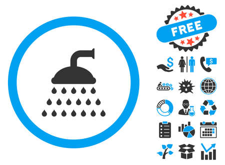 antiseptic: Shower icon with bonus elements. Vector illustration style is flat iconic bicolor symbols, blue and gray colors, white background.