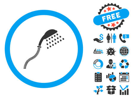 antiseptic: Shower pictograph with bonus pictograph collection. Vector illustration style is flat iconic bicolor symbols, blue and gray colors, white background.
