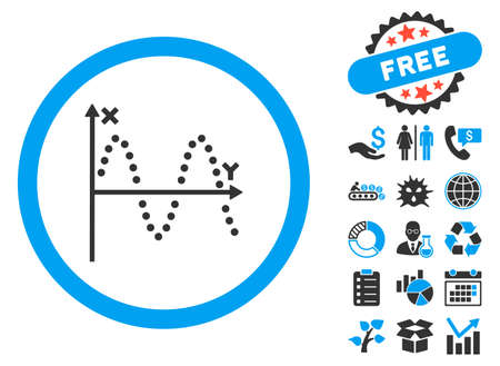 alternating current: Sine Plot icon with bonus images. Vector illustration style is flat iconic bicolor symbols, blue and gray colors, white background. Illustration