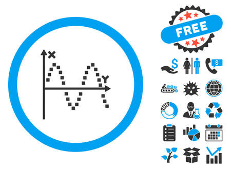Sine Plot pictograph with bonus clip art. Vector illustration style is flat iconic bicolor symbols, blue and gray colors, white background. Illustration