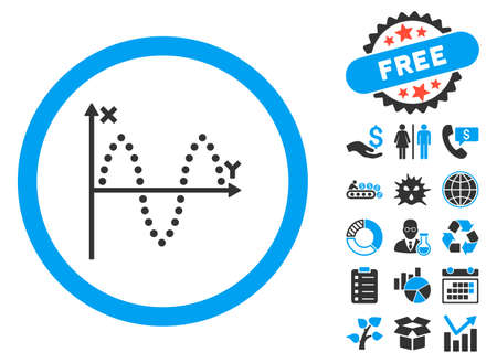 Sinusoid Plot icon with bonus design elements. Vector illustration style is flat iconic bicolor symbols, blue and gray colors, white background.