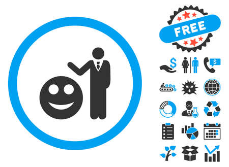 Smile Show pictograph with bonus clip art. Vector illustration style is flat iconic bicolor symbols, blue and gray colors, white background. Illustration