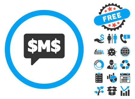 short message service: SMS Bubble icon with bonus clip art. Vector illustration style is flat iconic bicolor symbols, blue and gray colors, white background. Illustration