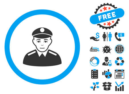 Soldier pictograph with bonus icon set. Vector illustration style is flat iconic bicolor symbols, blue and gray colors, white background. Illustration