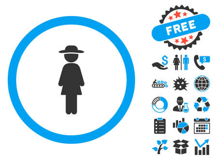 Standing Lady pictograph with bonus pictogram. Vector illustration style is flat iconic bicolor symbols, blue and gray colors, white background. Illustration