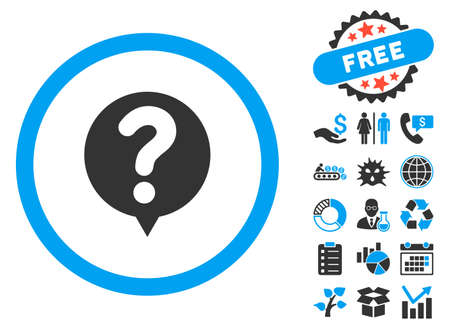 status: Status Query pictograph with bonus elements. Vector illustration style is flat iconic bicolor symbols, blue and gray colors, white background.