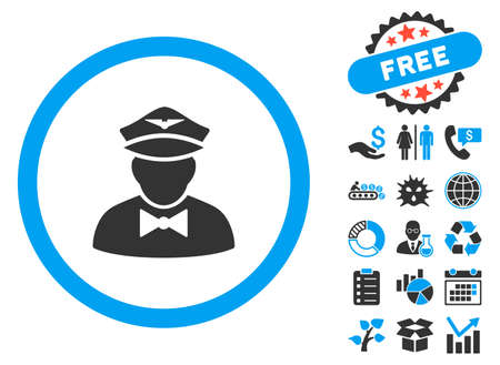 serv: Steward icon with bonus pictograph collection. Vector illustration style is flat iconic bicolor symbols, blue and gray colors, white background.
