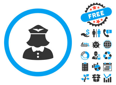 serv: Stewardess icon with bonus design elements. Vector illustration style is flat iconic bicolor symbols, blue and gray colors, white background.