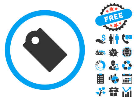operand: Tag icon with bonus pictures. Vector illustration style is flat iconic bicolor symbols, blue and gray colors, white background. Illustration