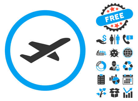 airways: Takeoff icon with bonus elements. Vector illustration style is flat iconic bicolor symbols, blue and gray colors, white background.