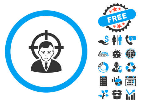 concurrent: Target Person pictograph with bonus elements. Vector illustration style is flat iconic bicolor symbols, blue and gray colors, white background. Illustration