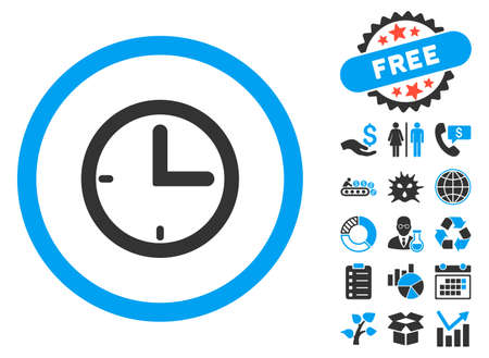 Time icon with bonus symbols. Vector illustration style is flat iconic bicolor symbols, blue and gray colors, white background. Illustration