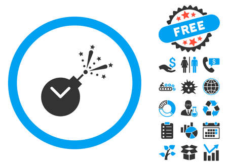 explosion hazard: Time Fireworks Charge icon with bonus symbols. Vector illustration style is flat iconic bicolor symbols, blue and gray colors, white background.