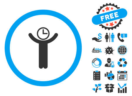 temporary workers: Time Manager icon with bonus icon set. Vector illustration style is flat iconic bicolor symbols, blue and gray colors, white background.