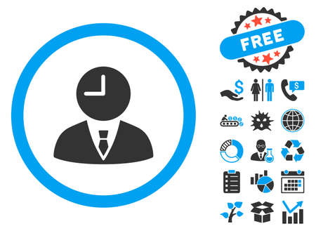 temporary workers: Time Manager icon with bonus pictures. Vector illustration style is flat iconic bicolor symbols, blue and gray colors, white background.