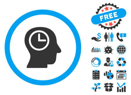 Time Manager icon with bonus pictogram. Vector illustration style is flat iconic bicolor symbols, blue and gray colors, white background. Illustration