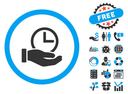config: Time Service icon with bonus design elements. Vector illustration style is flat iconic bicolor symbols, blue and gray colors, white background.