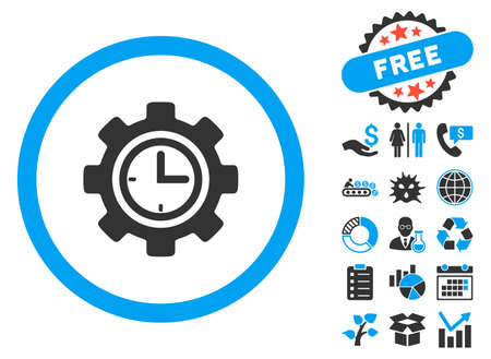 schedule system: Time Setup icon with bonus pictograph collection. Vector illustration style is flat iconic bicolor symbols, blue and gray colors, white background.