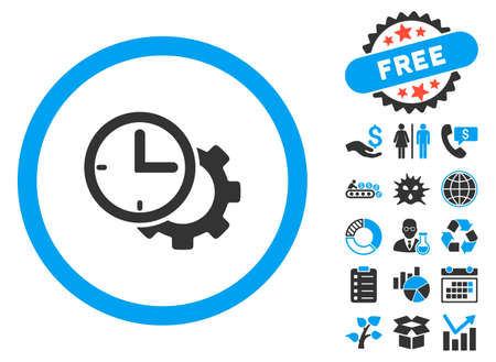Time Setup icon with bonus icon set. Vector illustration style is flat iconic bicolor symbols, blue and gray colors, white background.