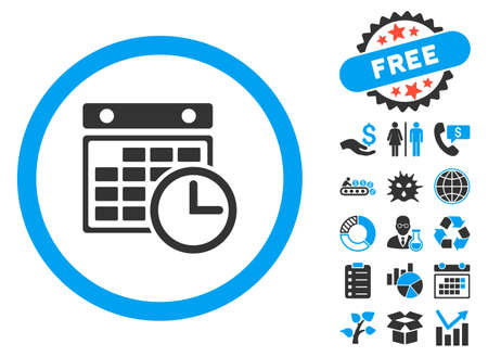 cronograma: Timetable pictograph with bonus pictograph collection. Vector illustration style is flat iconic bicolor symbols, blue and gray colors, white background.