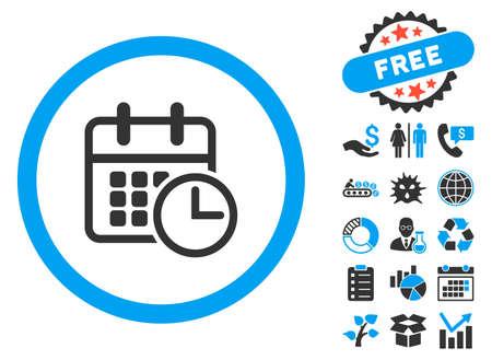 cronograma: pictograma calendario con el clip de bonificación arte. ilustración vectorial estilo es llano bicolor símbolos icónicos, colores azul y gris, fondo blanco.