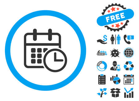 cronograma: Timetable pictograph with bonus clip art. Vector illustration style is flat iconic bicolor symbols, blue and gray colors, white background.
