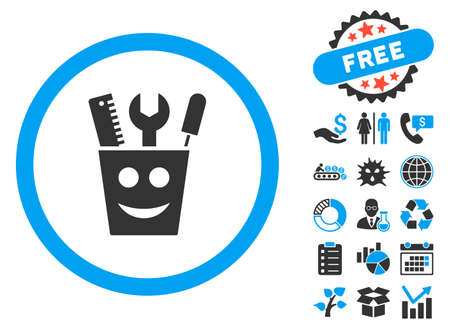 Tools Smile pictograph with bonus elements. Vector illustration style is flat iconic bicolor symbols, blue and gray colors, white background. Illustration