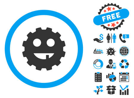 toothless: Toothless Gear Smiley icon with bonus icon set. Vector illustration style is flat iconic bicolor symbols, blue and gray colors, white background. Illustration