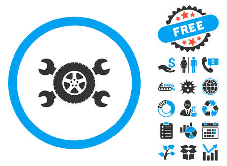hardware configuration: Tire Service pictograph with bonus design elements. Vector illustration style is flat iconic bicolor symbols, blue and gray colors, white background.