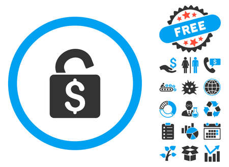decrypt: Unlock Banking Lock pictograph with bonus images. Vector illustration style is flat iconic bicolor symbols, blue and gray colors, white background.