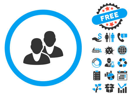 Users pictograph with bonus design elements. Vector illustration style is flat iconic bicolor symbols, blue and gray colors, white background.