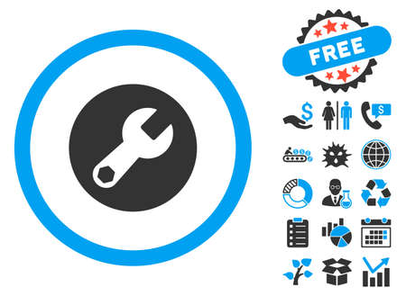 Wrench pictograph with bonus images. Vector illustration style is flat iconic bicolor symbols, blue and gray colors, white background. Illustration