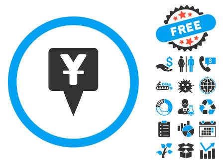 financial position: Yuan Map Pointer pictograph with bonus design elements. Vector illustration style is flat iconic bicolor symbols, blue and gray colors, white background.