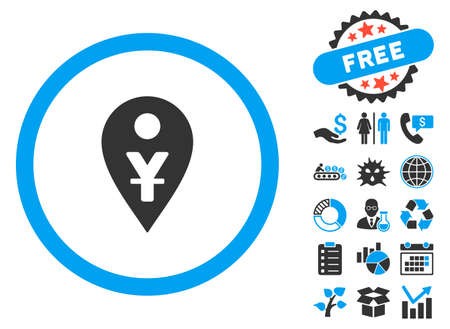 financial position: Yuan Map Marker icon with bonus pictogram. Vector illustration style is flat iconic bicolor symbols, blue and gray colors, white background.