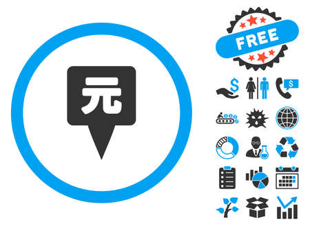 renminbi: Yuan Map Pointer icon with bonus clip art. Vector illustration style is flat iconic bicolor symbols, blue and gray colors, white background.