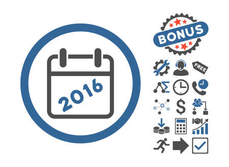 cobalt: 2016 Calendar pictograph with bonus images. Vector illustration style is flat iconic bicolor symbols, cobalt and gray colors, white background. Illustration