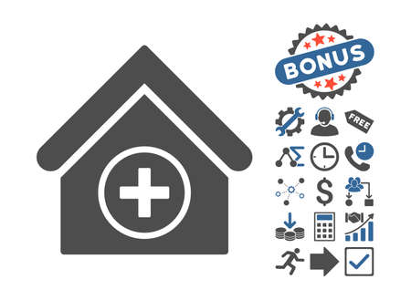 home addition: Add Building icon with bonus images. Vector illustration style is flat iconic bicolor symbols, cobalt and gray colors, white background. Illustration