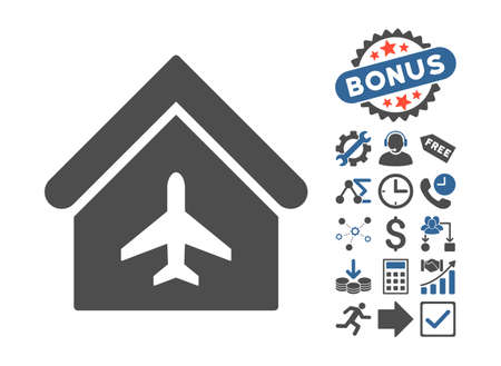 hangar: Aircraft Hangar pictograph with bonus elements. Vector illustration style is flat iconic bicolor symbols, cobalt and gray colors, white background.