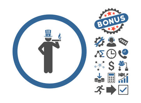 king master: American Capitalist pictograph with bonus icon set. Vector illustration style is flat iconic bicolor symbols, cobalt and gray colors, white background.