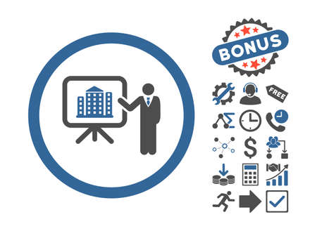 iconic architecture: Architecture Presentation pictograph with bonus pictograph collection. Vector illustration style is flat iconic bicolor symbols, cobalt and gray colors, white background.