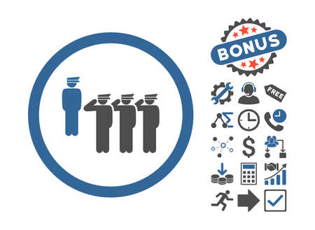 squad: Army Squad pictograph with bonus icon set. Vector illustration style is flat iconic bicolor symbols, cobalt and gray colors, white background.