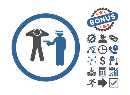 arrest: Arrest pictograph with bonus pictures. Vector illustration style is flat iconic bicolor symbols, cobalt and gray colors, white background.